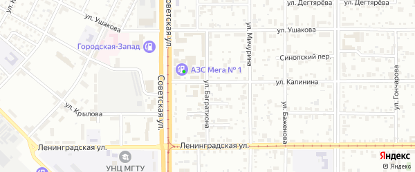 Улица Багратиона на карте Магнитогорска с номерами домов