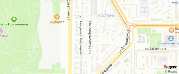 Улица Феодосия Воронова на карте Магнитогорска с номерами домов