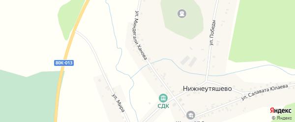 Улица Миндегали Ханова на карте деревни Нижнеутяшево с номерами домов