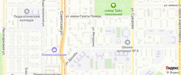 Территория ГСК Мичурина 140 на карте Магнитогорска с номерами домов