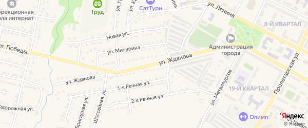 Улица Жданова на карте Сатки с номерами домов