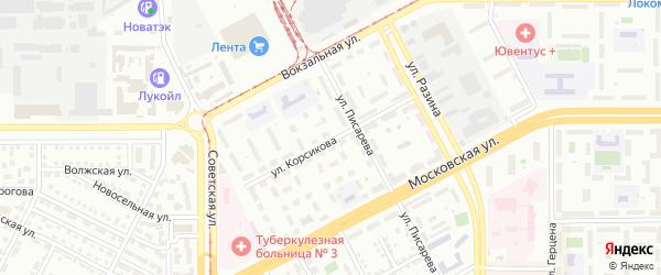 Улица Корсикова на карте Магнитогорска с номерами домов