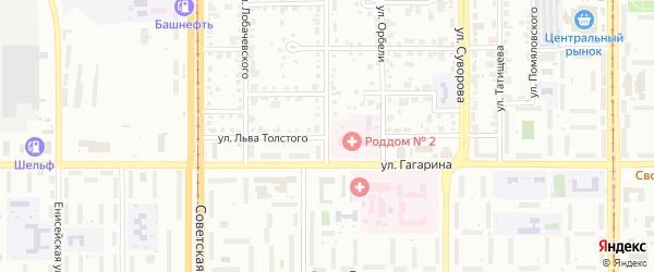 Улица Толстого на карте Магнитогорска с номерами домов