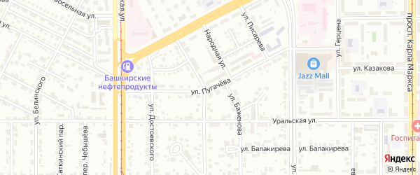 Улица Пугачева на карте Магнитогорска с номерами домов