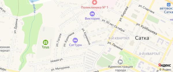 Улица Калинина на карте Сатки с номерами домов