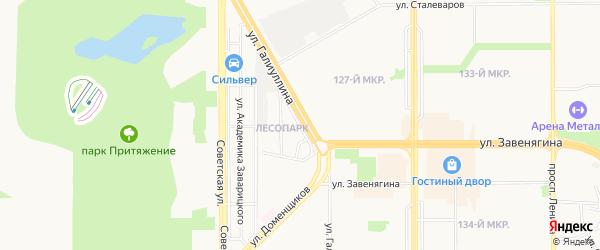 Карта поселка Лесопарка города Магнитогорска в Челябинской области с улицами и номерами домов