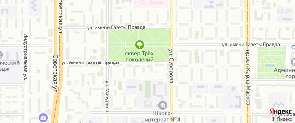 Улица имени газеты Правда на карте Магнитогорска с номерами домов