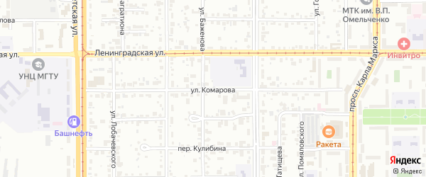 Улица Комарова на карте Магнитогорска с номерами домов