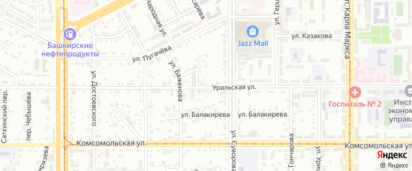 Уральская улица на карте Магнитогорска с номерами домов