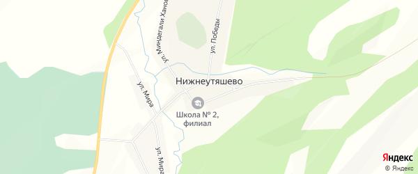 Карта деревни Нижнеутяшево в Башкортостане с улицами и номерами домов
