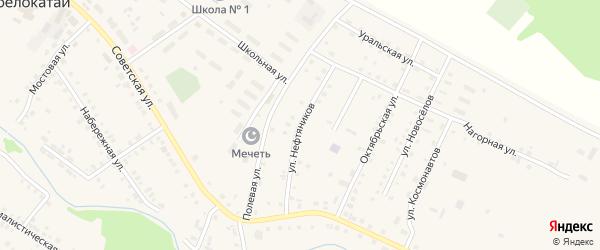 Улица Нефтяников на карте села Новобелокатая с номерами домов