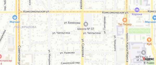 Улица Чаплыгина на карте Магнитогорска с номерами домов