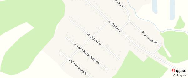Улица Дружбы на карте села Новобелокатая с номерами домов