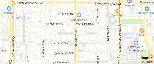 Улица Дегтярева на карте Магнитогорска с номерами домов