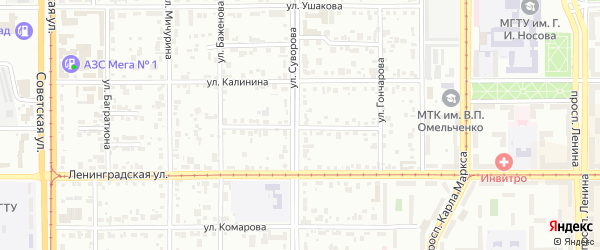 Измайловский переулок на карте Магнитогорска с номерами домов