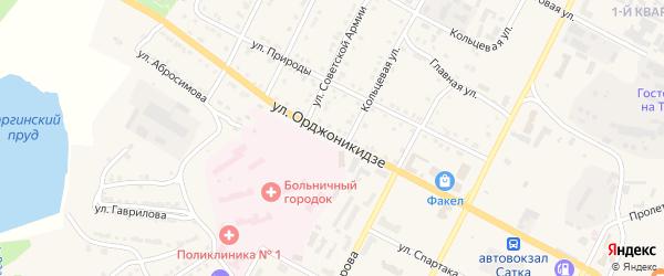 Улица Орджоникидзе на карте Сатки с номерами домов