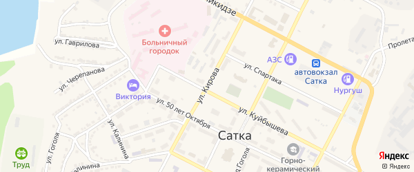 Улица Кирова на карте Сатки с номерами домов