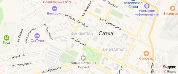 Дворцовый проезд на карте Сатки с номерами домов