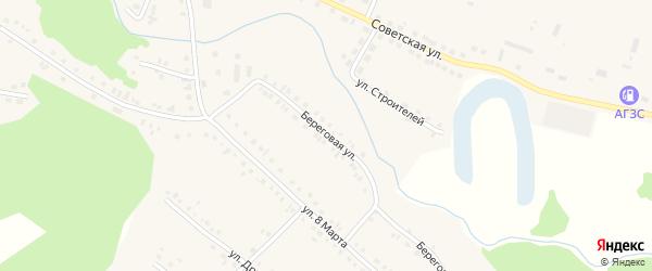 Береговая улица на карте села Новобелокатая с номерами домов
