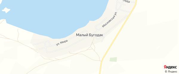 Карта поселка Малого Бугодака в Челябинской области с улицами и номерами домов