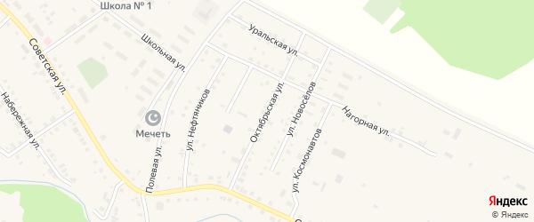 Октябрьская улица на карте села Новобелокатая с номерами домов