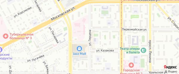 Улица Герцена на карте Магнитогорска с номерами домов
