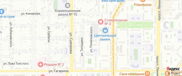 Улица Помяловского на карте Магнитогорска с номерами домов