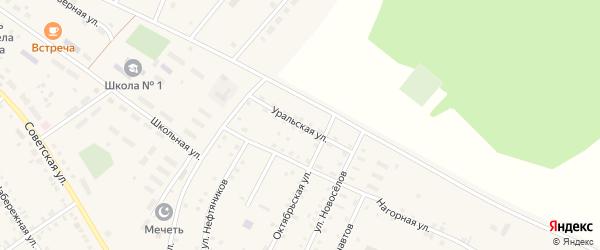 Уральская улица на карте села Новобелокатая с номерами домов