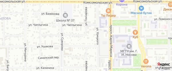 Улица Гончарова на карте Магнитогорска с номерами домов