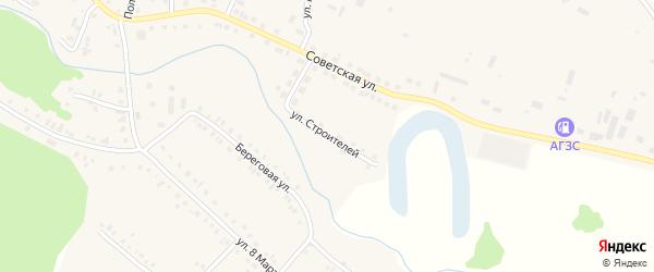 Улица Строителей на карте села Новобелокатая с номерами домов