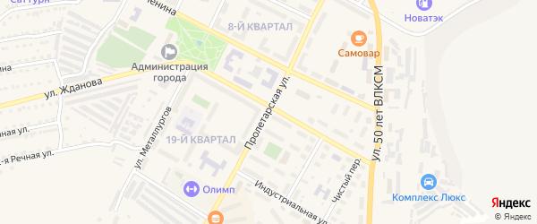 Пролетарская улица на карте Сатки с номерами домов