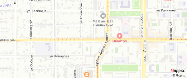 Ленинградская улица на карте Магнитогорска с номерами домов