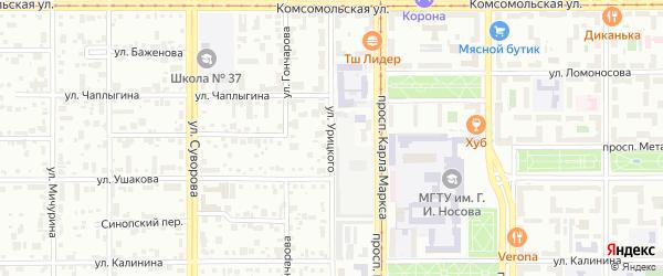 Улица Урицкого на карте Магнитогорска с номерами домов