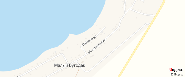 Озерная улица на карте поселка Малого Бугодака с номерами домов