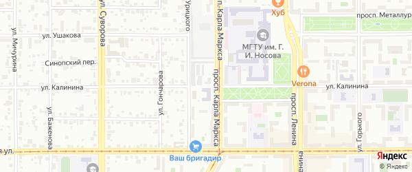 Улица Калинина на карте Магнитогорска с номерами домов