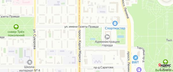 Урожайный переулок на карте Магнитогорска с номерами домов