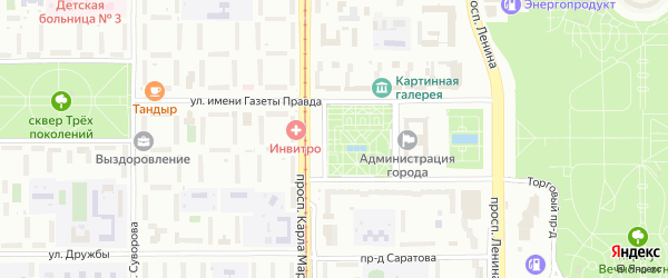 Территория ГСК Зеленый лог на карте Магнитогорска с номерами домов