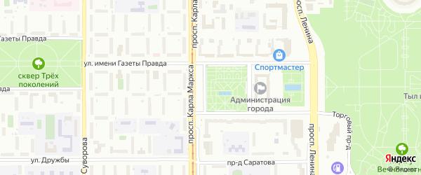 Территория ГСК Молодежный-17 на карте Магнитогорска с номерами домов