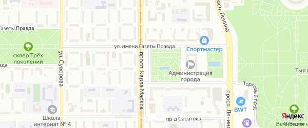 Территория ГСК Турист-1 на карте Магнитогорска с номерами домов