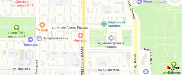 Территория ГСК Юго-Западный на карте Магнитогорска с номерами домов