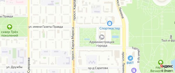 Площадь Народных гуляний на карте Магнитогорска с номерами домов
