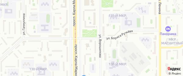 Улица Бориса Ручьева на карте Магнитогорска с номерами домов
