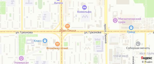 Улица Грязнова на карте Магнитогорска с номерами домов