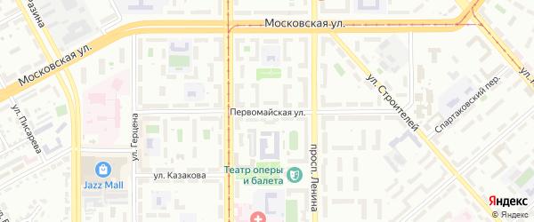 Первомайская улица на карте Магнитогорска с номерами домов