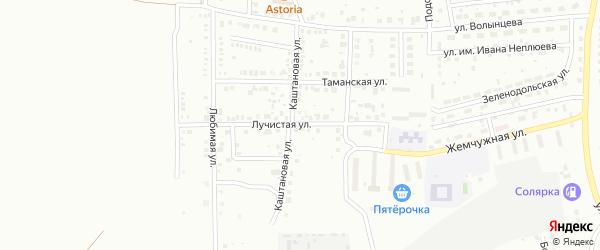 Лучистая улица на карте Магнитогорска с номерами домов