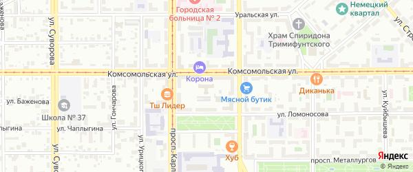 Территория ГСК Комсомольская 33 на карте Магнитогорска с номерами домов