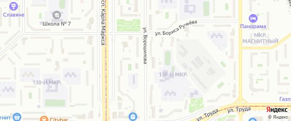 Улица Ворошилова на карте Магнитогорска с номерами домов