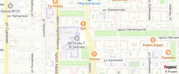 Площадь Ленина на карте Магнитогорска с номерами домов
