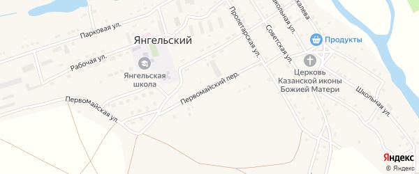 Первомайский переулок на карте Янгельского поселка с номерами домов