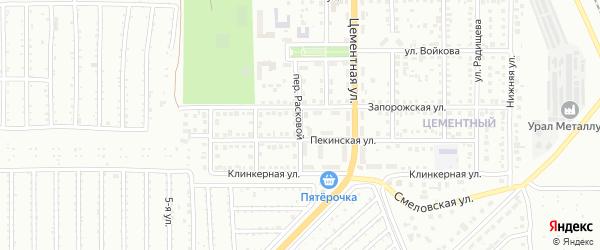 Расковой переулок на карте Магнитогорска с номерами домов